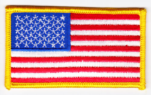 American Flag w// Gold Border Patch