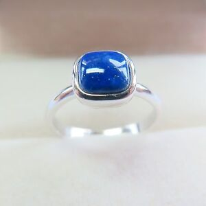 925-Sterling-Silver-with-Blue-Cushion-8mm-Lapis-Lazuli-Ring-Band-Size-4-12-4