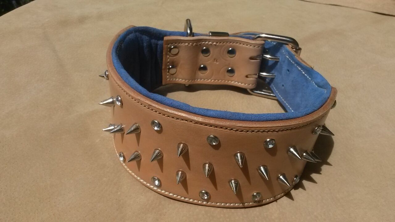 Large Natural & & & blu Studded Suede Leather Dog Collar with Crystals Nickel dc91f7