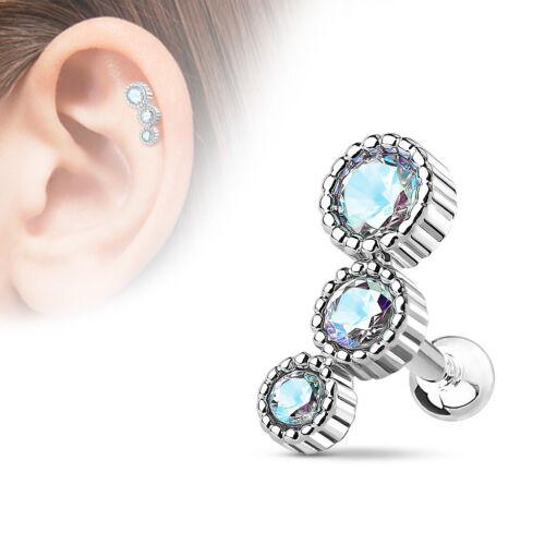 Barbell Studs Helix Tragus Rook Piercing Cristal étoiles Conch Cartilage Boucles d/'oreilles