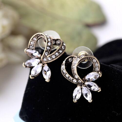 Boucles d`Oreilles Clous Puces Doré Couronne Fleur Baroque Vintage Original NN 3