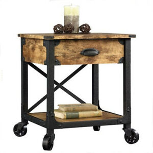 Image Is Loading Living Room Mobile Rustic Side Table Shelf Drawer