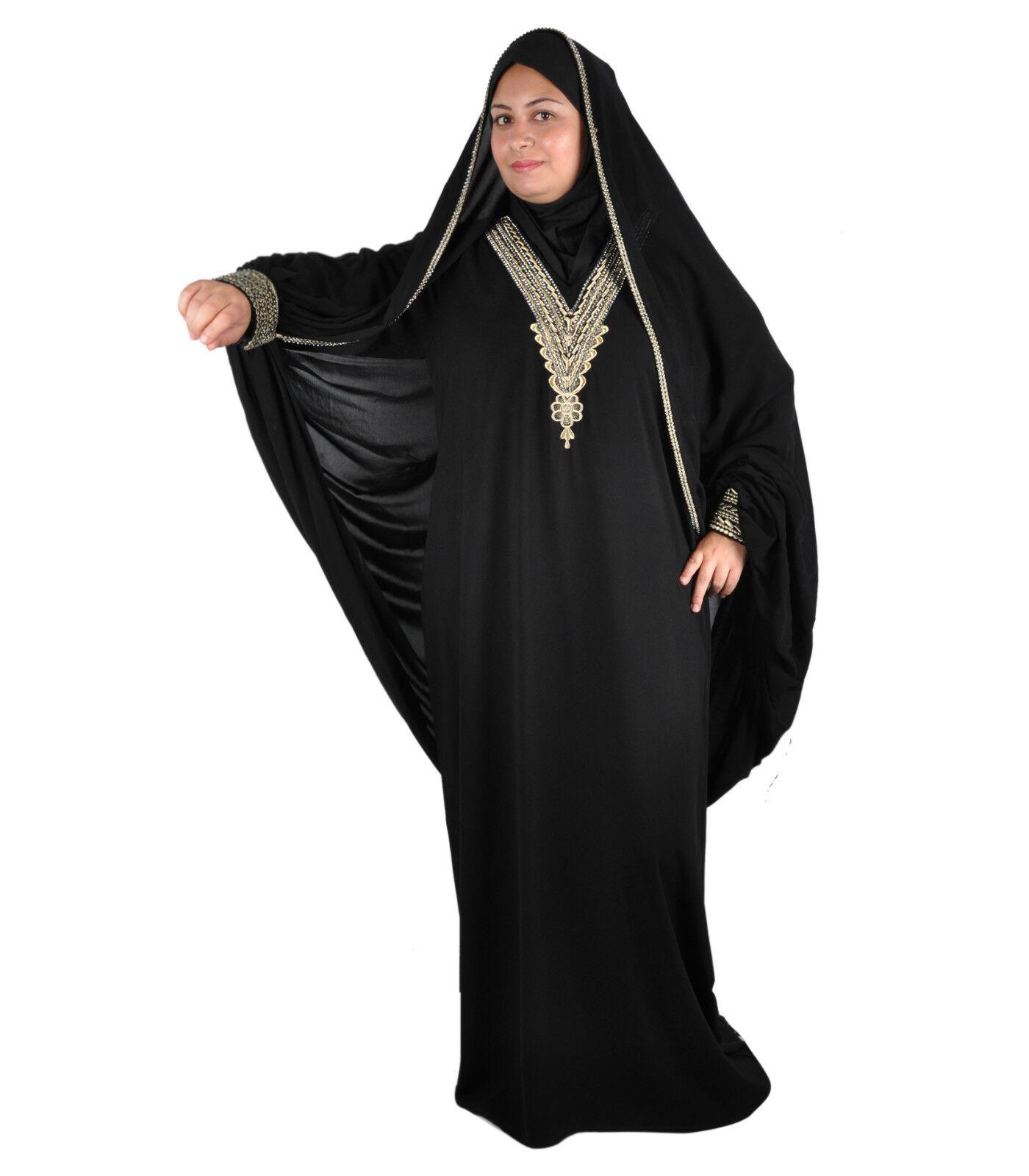 Dubai Abaya im Islamischen Stil Festkleid mit Schleier in schwarz -  ABY00334