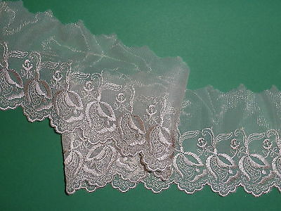 """*Pretty Mid Beige Skintone Fawn Embroidered Tulle Lace Trim 3""""/8cm Sewing Crafts"""