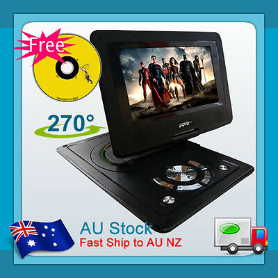 "AU New Brand New 9.5"" Portable DVD Video Player 270°,Swivel, USB,SD,TV,300 GAMES"