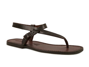 Handmade Brown Genuine Leather Thong Sandals For Men Made