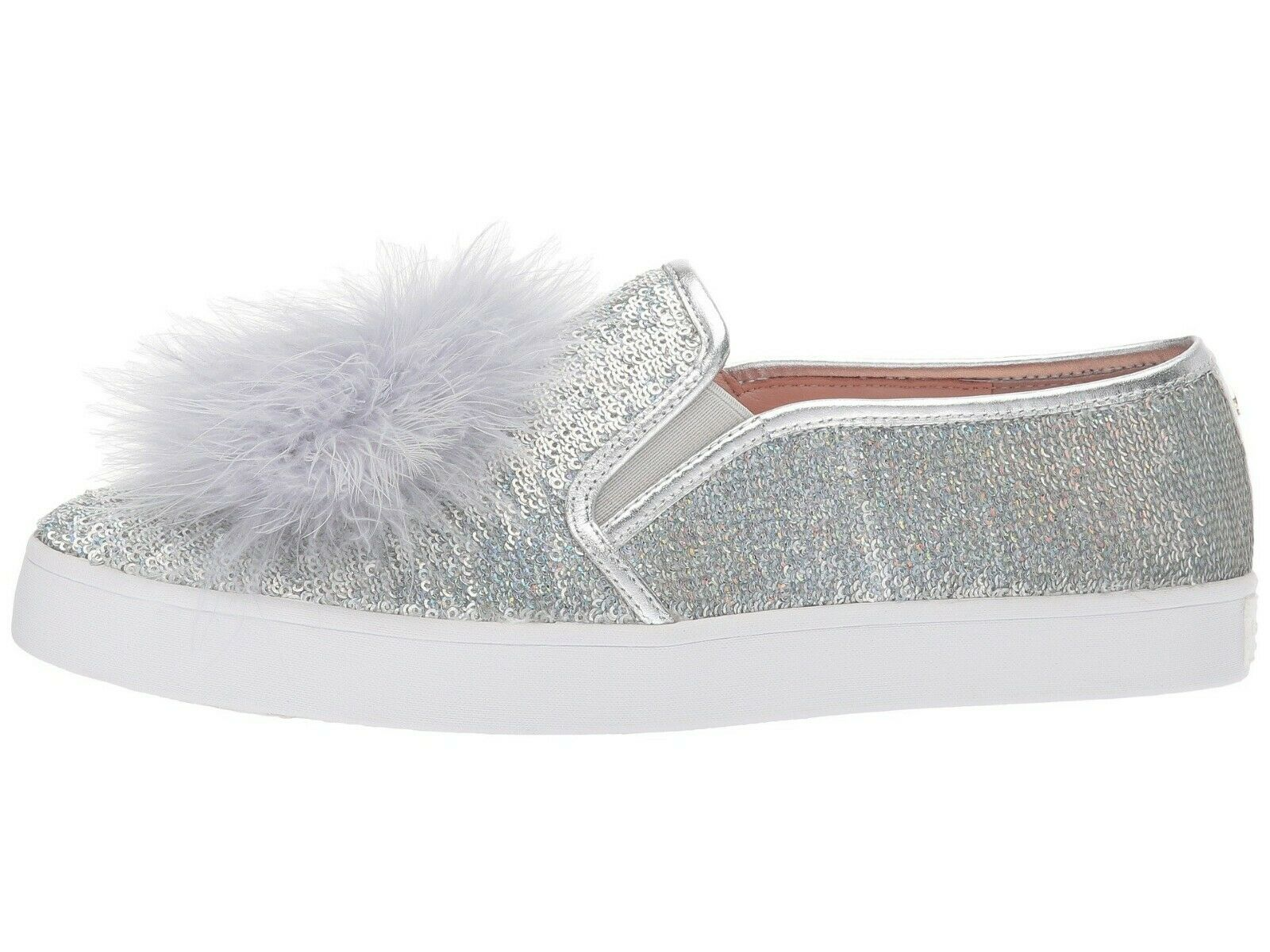 dff09e33ea3f Kate Spade LATISA Silver Metallic Leather Sequin Feather Pom Slip on ...