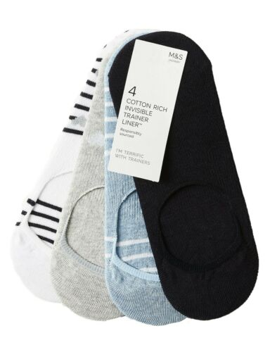 Ex M*S 4 Pair Pack Cotton Rich Trainer Liner Socks Size 3-5