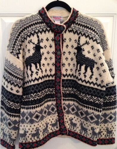 Awesome Uld Dame 44 Vintage Putumayo 100 Bryst Small Reindeer Sweater Ny Uw8Sx4Y