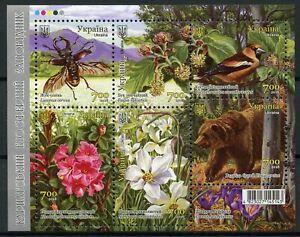 Ukraine-2018-neuf-sans-charniere-des-Carpates-Biosphere-RESERVE-6-V-M-S-oiseaux-fleurs-ours-timbres