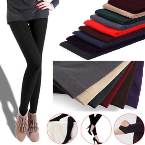 Women Ladies Classic Solid Color Cotton Winter Warm Full Length Leggings Pants