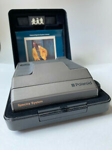 Vintage Gray Polaroid Spectra System Camera w/ Hard Shell & Pamphlet   UNTESTED