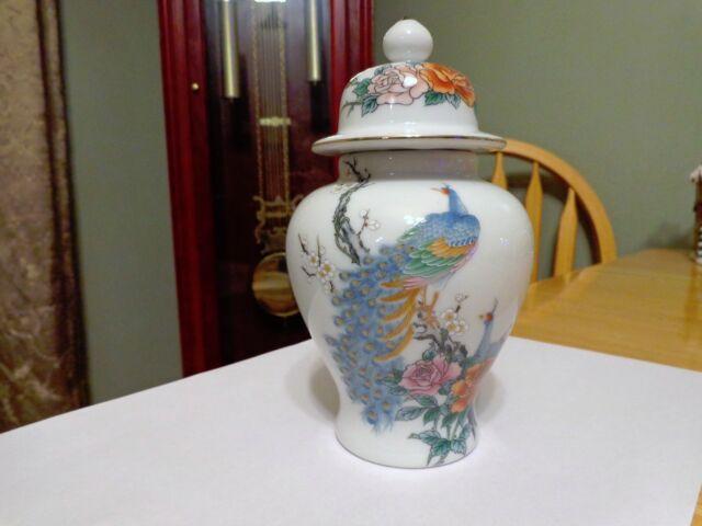 Vintage Fine China Japan Peacock Vase Ginger Jar Ebay