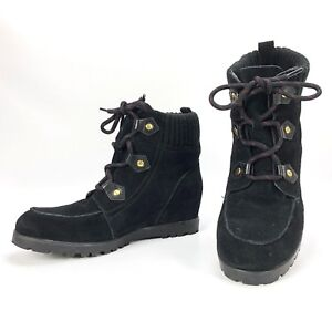 fa7f1b13616e TOMMY HILFIGER SERAFIN BLACK SUEDE LACE UP WEDGE ANKLE BOOTS SIZE ...
