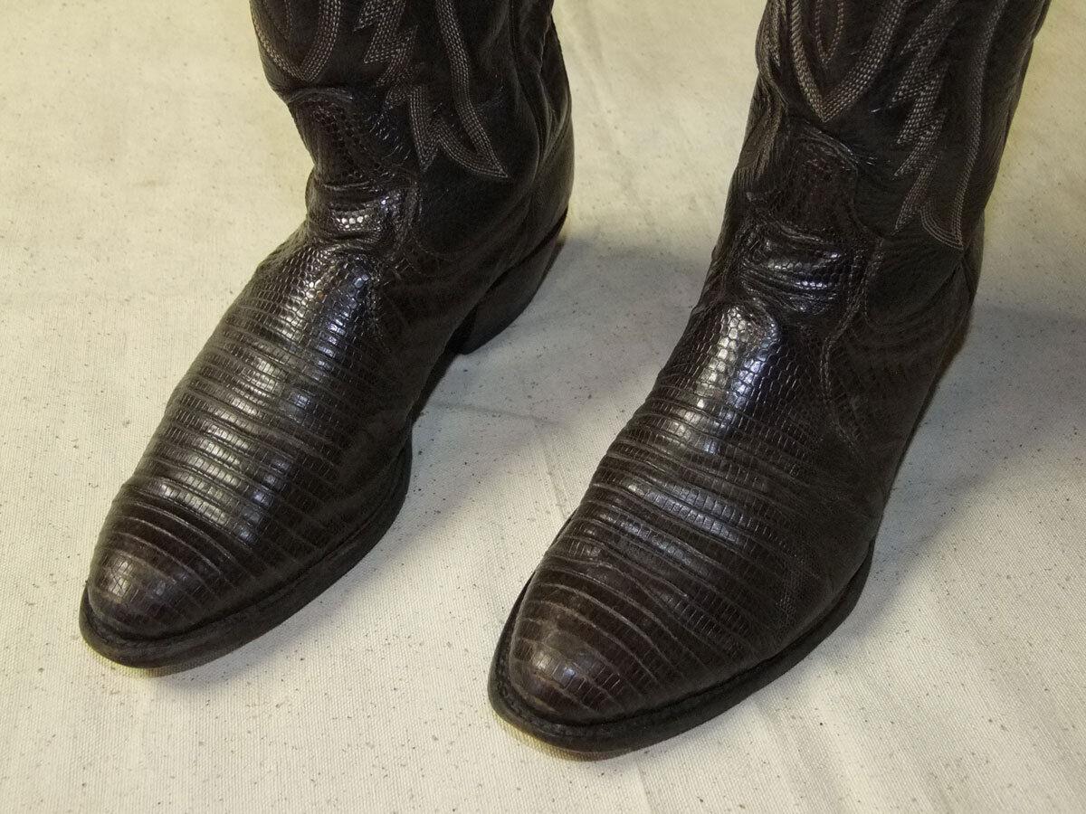 MENS TONY LAMA LIZARD SKIN LEATHER LEATHER LEATHER Marrone COWBOY stivali 7.5 D de46df