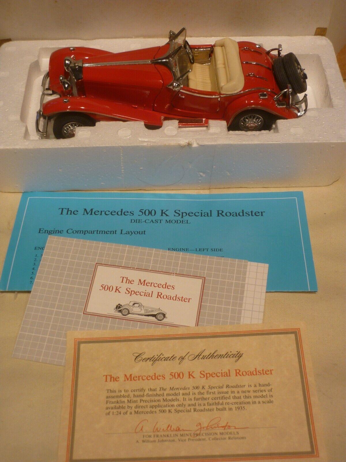 Franklin mint  1935 Mercedes Benz 500K  Special Roadster,  Boxed, paperwork