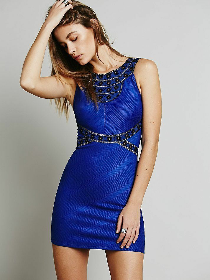 NWT FREE PEOPLE WOMEN SzM NEFERTITI EMBELLISHED BODYCON DRESS blueE SAPPHIRE