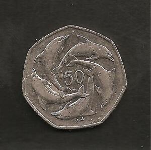 Gibraltar-Dolphins-Fifty-Pence-50p-coin-Rare-Good-Condition-Free-Shipping