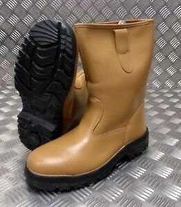 Safety Leather Tan stivali Ex Soles Suregrip Army Rigger British Ddr UqTnwnRB