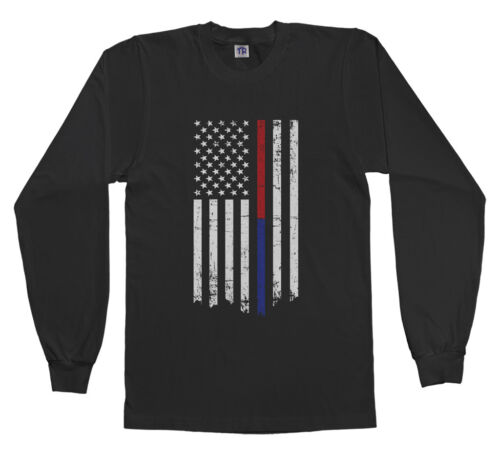 Threadrock Kids Thin Red Blue Line American Flag Youth Long Sleeve T-shirt Gift