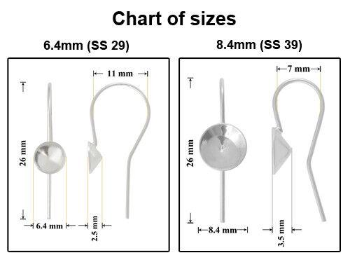 Alambre de plata esterlina pescado ganchos para pegar cristales XIRIUS Chaton 6 mm 8 mm 1088