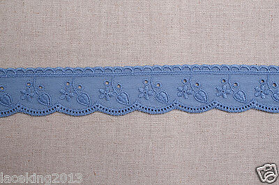 """14yds Embroidery Broderie Anglaise eyelet cotton lace 1.4"""" YH731a laceking2013"""