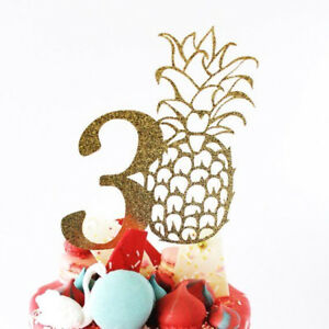 Large 30th Gold Glitter Card Pineapple Cake Topper, Happy ...