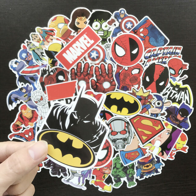 50 Pack Marvel Spider Man Iron Man Hulk DC Batman Decal Superhero Stickers