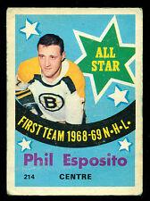 1969 70 OPC O PEE CHEE #214 PHIL ESPOSITO VG-EX BOSTON BRUINS HOCKEY ALL STAR