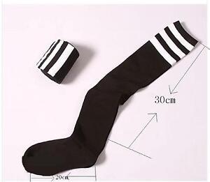 Femme-noir-rayees-football-de-sport-pour-chaussettes-epaississement-coton