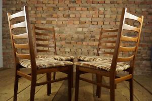 60er-4x-Vintage-Stuehle-Danish-Retro-Designer-Set-Esszimmer-Stuhl-MidCentury