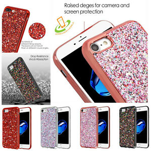 For-Apple-iPhone-8-7-Plus-Bling-Hybrid-Glitter-TPU-Protective-Hard-Case-Cover