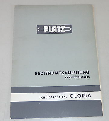 Motors Parts Catalog Space Schulterspritze Gloria Stand Efficient Operating Instructions