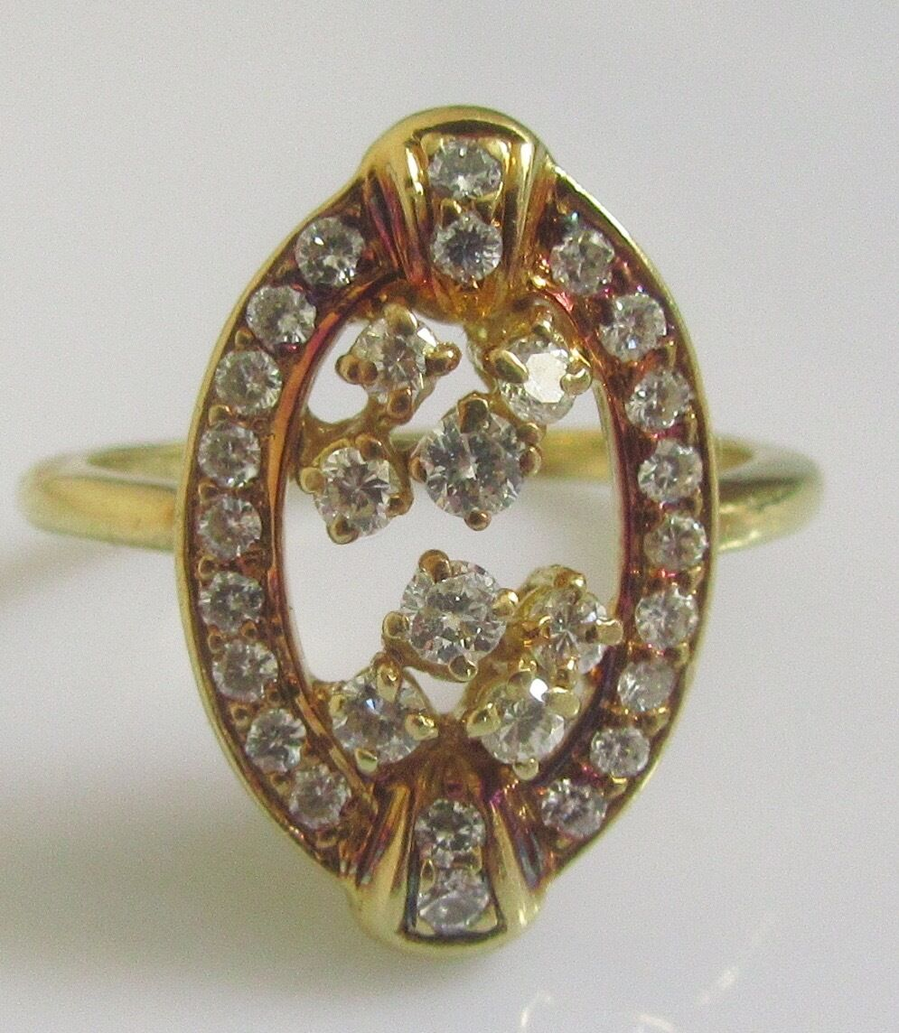 Secondhand 18ct Yellow gold Multi Diamond Oval Cluster Ring Size K 1 2