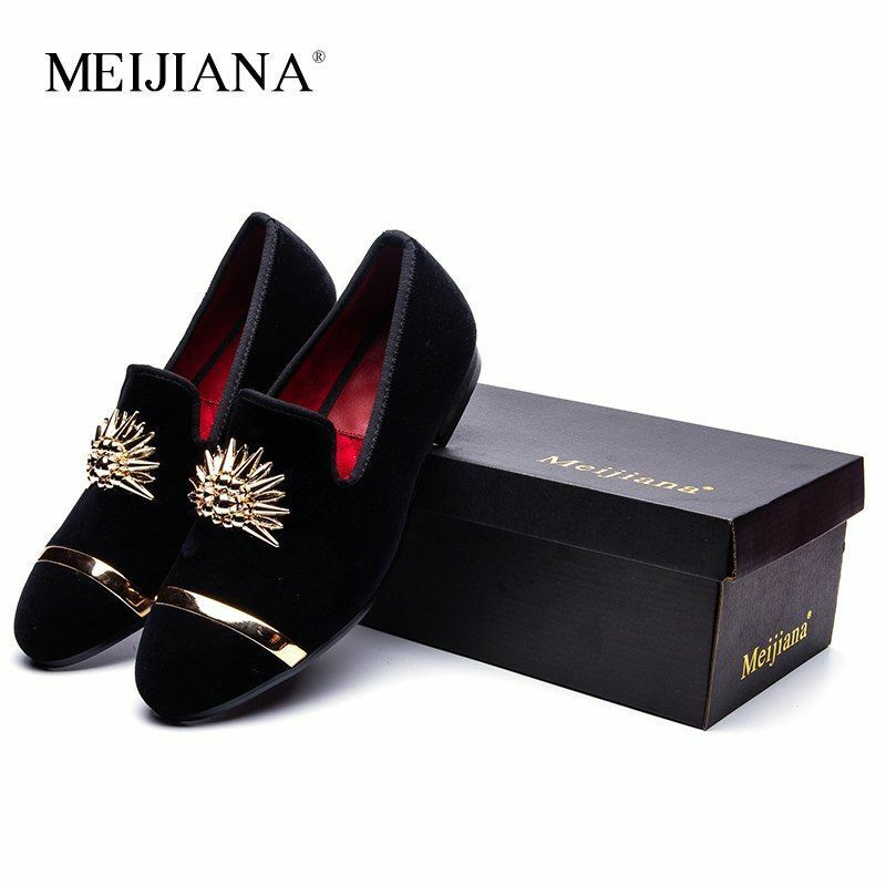 Fashion gold Top And Metal Toe Male Velvet Italian Dress shoes Handmade Loafers