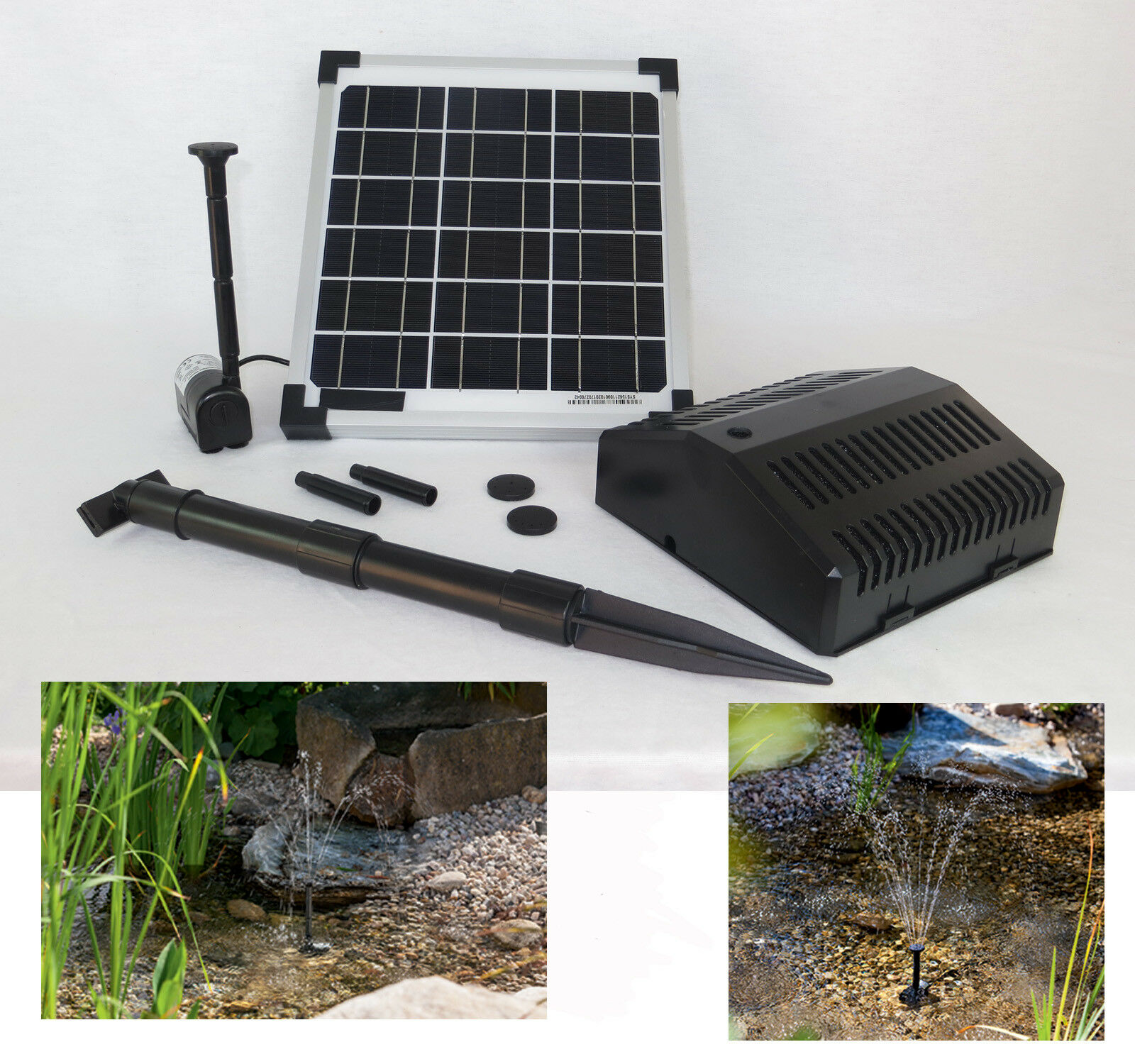 10W Bomba Solar de Estanque Pumpenset Filtro Jardín