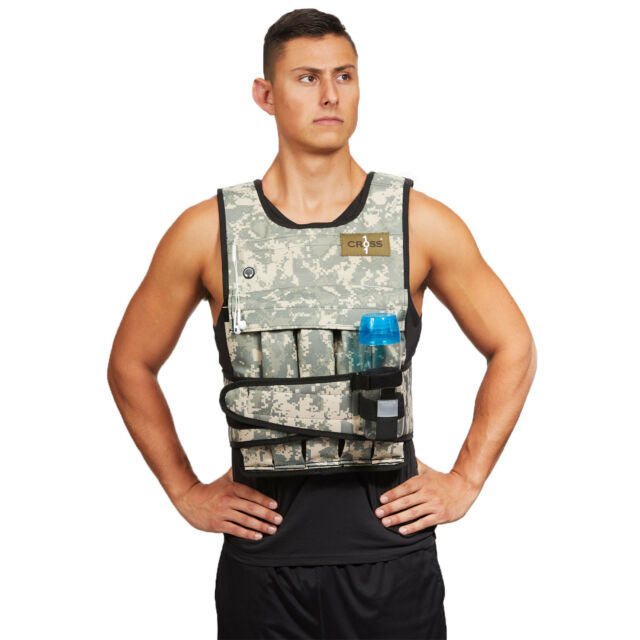 e0d3a495ca0 CROSS101- 40LB Adjustable Weighted Camo Workout Weight Vest Training Fitness -NEW