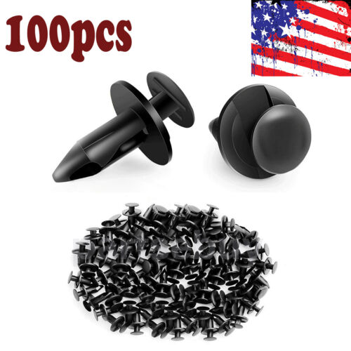 100pc Clips For 8mm Hole Plastic Rivets Retainer Fender Bumper Push Pin Fastener