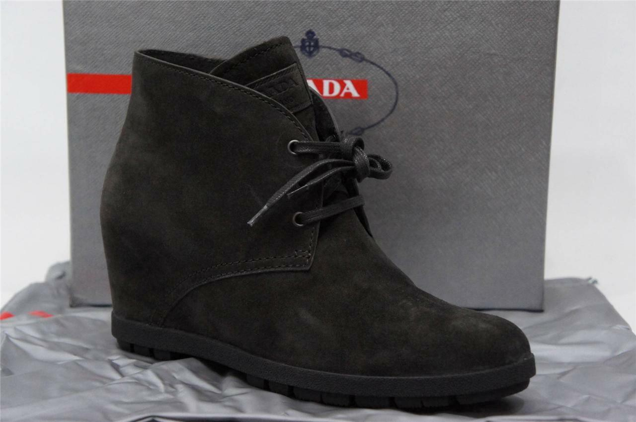 PRADA LACE UP SUEDE ANKLE GREY EMATITE BOOTIESS SHOES 41.5 11.5  650
