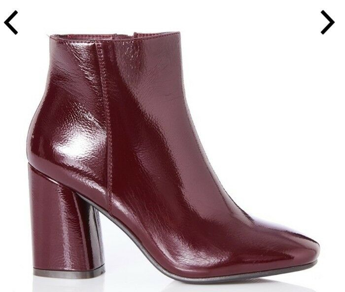 Super Made Womens Burgundy Patent Block Heel Ankle Boots Size UK 8 41
