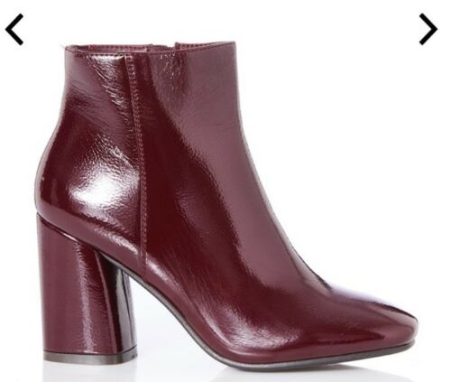 Ankle Patent Heel 8 Burgundy Made Size Block Womens 41 Super Uk Boots wXY6atqX