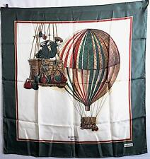 "BURBERRY 100% Pure Silk Authentic Green/White 'Hot Air Balloon' Scarf - 34""x 33"""