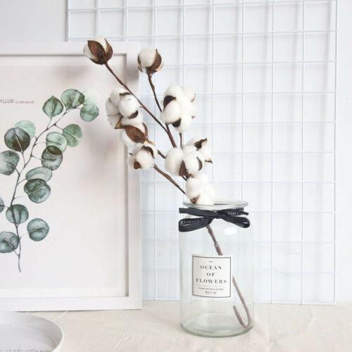 Naturally Dried Cotton Stems Farmhouse Artificial Flower Filler Floral Dekor