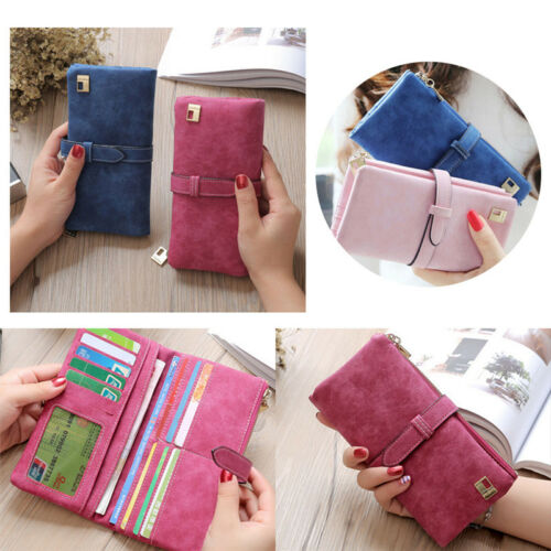 Women Leather Long Purse Ladies Clutch Coin Phone Bag Wallet Cards Holder ZY