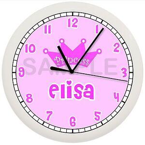 Pink Princess Wall Clock Personalized Children Crown Queen Girls Bedroom Gift Ebay