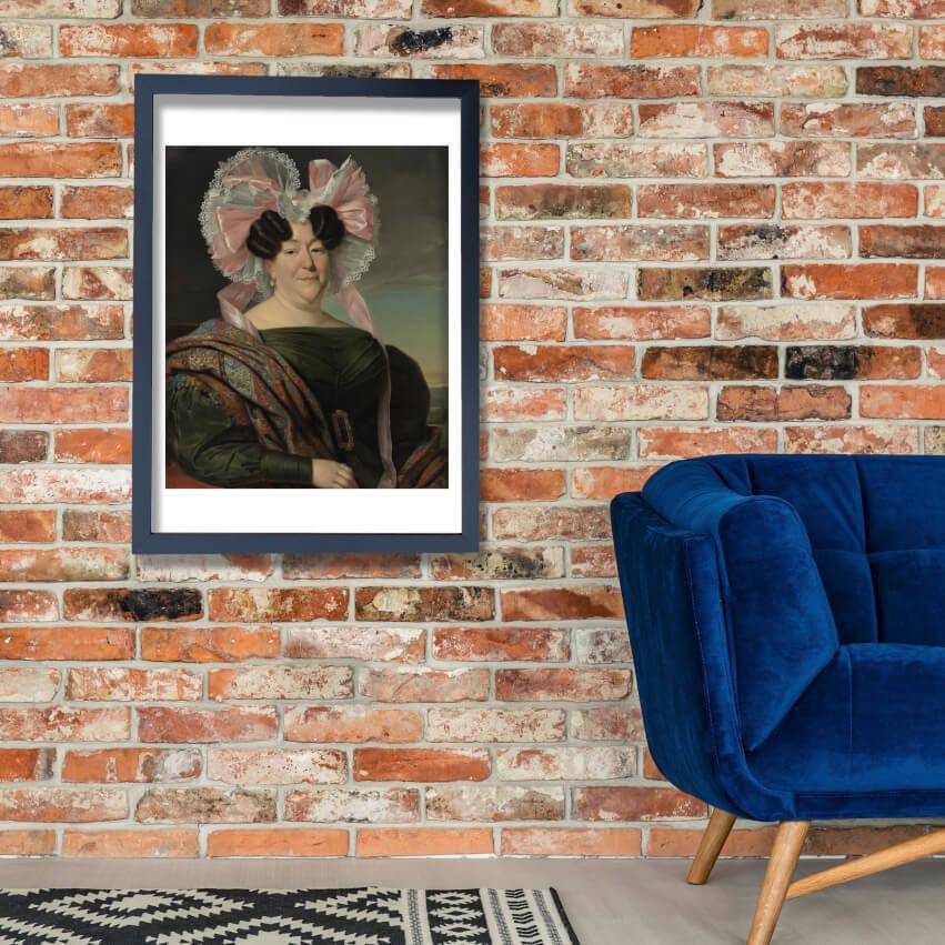 Jan Adam Kruseman - Portrait Of A Lady Wand Kunst Poster Drucken