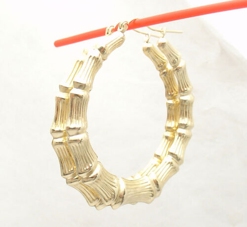 """1 3//4/"""" 45mm Large Graduated Bamboo Hoop Earrings REAL 14K Yellow Gold 5.1gr"""