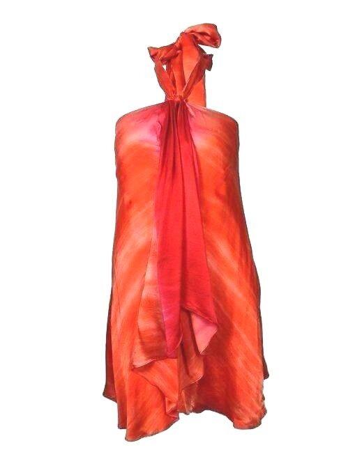 NWT Ralph Lauren SILK ruffle halter blouse top Tunic Orange/ ROT ombre M