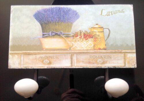 Wandhaken Motiv Schild Eisen 18x23cm Lavendel Vintage Ästhetik Handtuch Halter