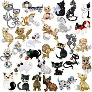 Fashion-Women-Animals-Cat-Dog-Puppy-Crystal-Brooch-Pin-Charm-Cute-Party-Jewelry